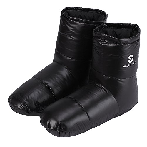 WIND HARD Winter Down Booties Socks Slippers Warm Soft Cozy for Outdoor Camping Sleeping Bag Indoor Down Filled Slipper Boots Ultralight 3 Size for Men Women (Black, M)