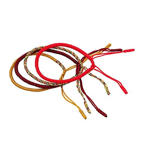 Pulsera de la suerte tibetana Pulseras tejidas hechas a mano Hombres Mujeres Pulseras de la suerte de cuerda roja para protección