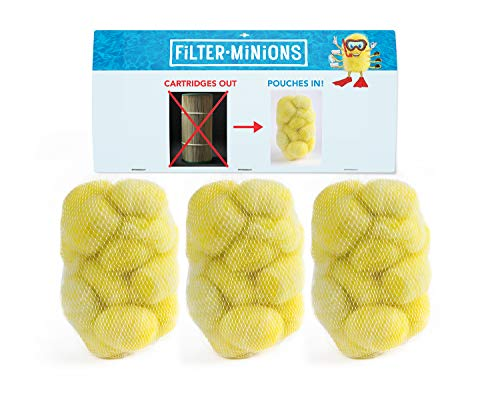 Filter Minion Miracle Balls, 3 Pouch FM3P-G Replacement Filter for Hot Tub/Spa & Above Ground Pools, Standard Cartridges 10'-13' Tall, Yellow