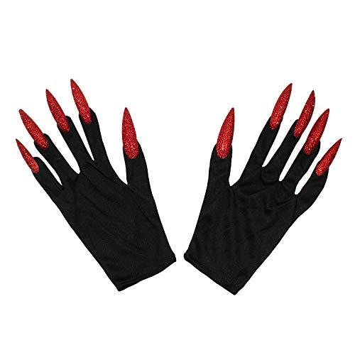 Oblique Unique® Hexen Handschuhe mit Langen Fingernägeln Schwarz Rot Einheitsgröße Halloween Fasching Karneval