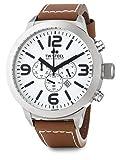TW Steel - Reloj de pulsera edición Marc Coblen, cronómetro con correa de cuero, 50mm, color blanco y marrón, TWMC57