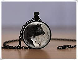 Beautiful Dandelion Yin and Yang Pendant Necklace Wolf, Wolves Chinese Philosophy