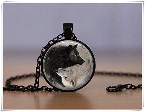 Beautiful Dandelion Hermoso Colgante de Diente de león Yin y Yang Lobo, Lobo Chino filosofía