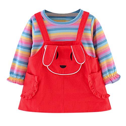 Baby Regenbogen Streifen Hemd übersteigt Karikatur Häschen Hosenträger Rock