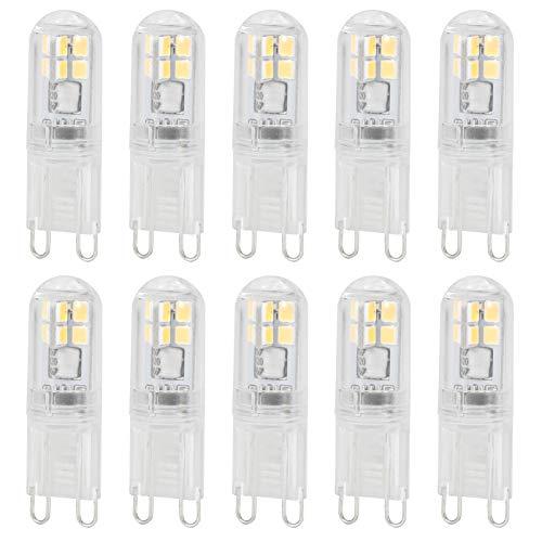 Bombilla de luz G9 de 10 piezas, bombilla de lámpara de 1,4 W 16 LED, bombilla de iluminación de repuesto para lámpara de pared, piezas de artículos para el hogar