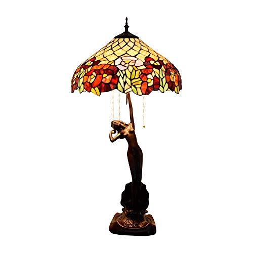 Diseño Personalizado Tiffany Lámpara de mesa Lámpara barroca de la lámpara de la sala Comedor Dormitorio Diámetro 40 cm Altura estilo Tiffany interior de 76 cm 2 x E27 Socket Crocs