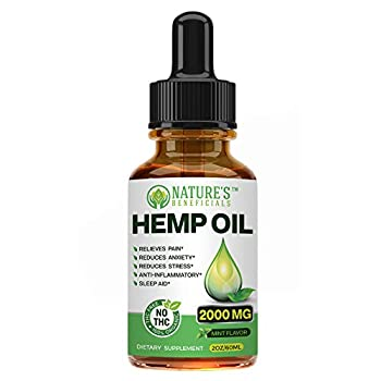 Organic Hemp Oil Extract Drops 2000mg - Ultra Premium Pain Relief Anti-Inflammatory Stress & Anxiety Relief Joint Support Sleep Aid Omega Fatty Acids 3 6 9 Non-GMO Ultra-Pure CO2 Extracted