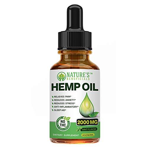 Organic Hemp Oil Extract Drops 2000mg - Ultra...