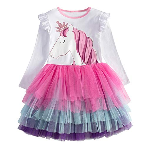 VIKITA Vestitos Bambina Principessa Unicorno Casuale Cotone Abiti LH4590 6T