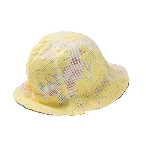 BANLV Sombreros para niños, Las niñas Usan Sombreros de Pescador en Ambos Lados con Bridas de Encaje Hueco de Doble Capa, sombrilla, macetas, Sombreros, Amarillo Brillante