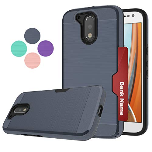 LDStars Moto G4 Case,G4 Plus Phone Case,Motorola G 4th Generation,G Plus 2016 Phone Cover, [Brushed Texture] Shockproof Protective Cover with Card Slots Holder-Navy Blue