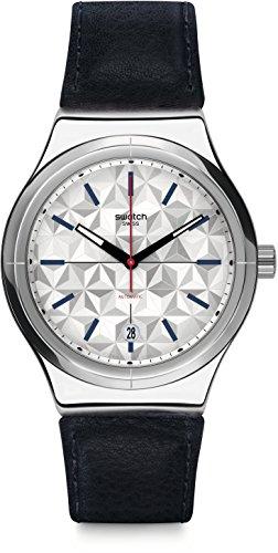 Swatch Herren Digital Automatik Uhr mit Leder Armband YIS408