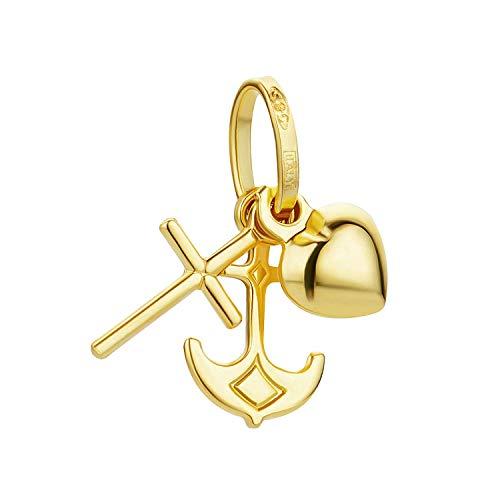 PRINS JEWELS - Mini ciondolo a forma di croce, motivo: fede, amore, speranza, con cuore, in oro giallo 18 carati 750