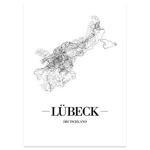 JUNIWORDS Stadtposter, Lübeck, Wähle eine Größe, 21 x 30 cm, Poster, Schrift A, Weiß