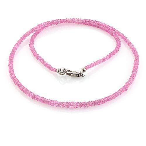 Rosafarbene Saphir-Halskette mit rosafarbenem Schmuckstein als Hochzeitsgeschenk Jahrestag Geburtsstein Oktober
