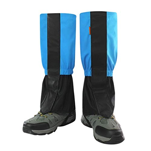 Fine Leg Gaiters Waterproof for Men and Women, Anti-Tear Snow Boot Gaiters Nylon Fabric Breathable Shoe Gaiters for Outdoor Hiking Hunting Climbing (Blue, S)