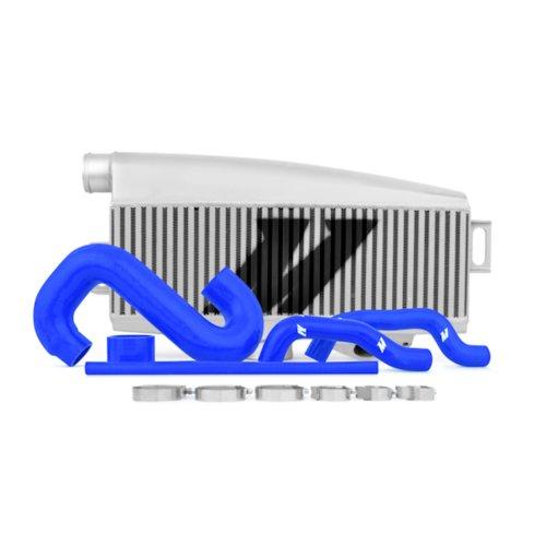 Mishimoto MMTMIC-WRX-01SLBL Top-Mount Intercooler Compatible With Subaru WRX/STI 2001-2007 Silver Cooler, Blue Hose