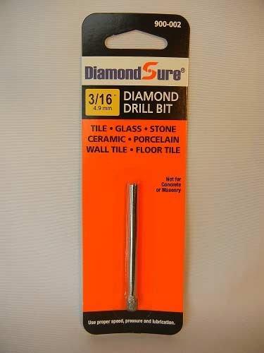 3/16' Inch 4.9 mm DiamondSure Diamond Drill Bit Hole Saw for Glass, Tile, Granite, Ceramic, Porcelain, Stone