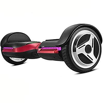 Spadger G1 Premium Hoverboard Auto-Balancing Wheel with Bluetooth Speaker & LED Lights Pro - Smart App Available [Red]
