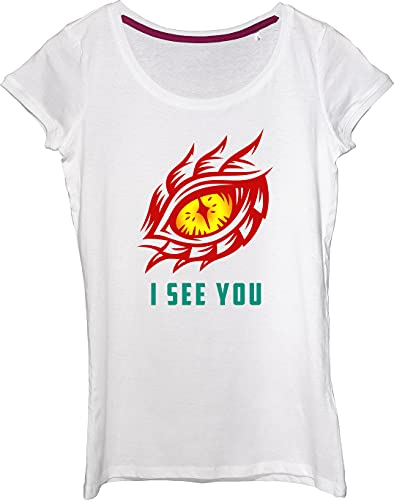 Camiseta para mujer con ojo de dragón amarillo I See You.