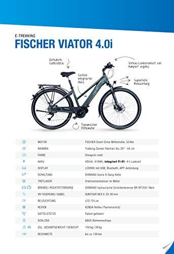 FISCHER Damen – E-Bike Trekking VIATOR 4.0i (2020), grün matt, 28 Zoll, RH 44 cm, Mittelmotor 50 Nm, 48 Volt Akku im Rahmen kaufen  Bild 1*