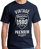40th Birthday Gifts Regalo Uomo 40 Anni Compleanno Vintage Premium 1980 Maglietta T-Shirt