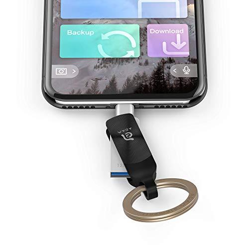 ADAM ADRAD64GKLDPRX Elements iKlips Duo+ 64GB USB-Speicherstick 3.1 auf Lightning für Apple iPhone/iPad/Mac und PC schwarz