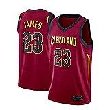 Camiseta de baloncesto - NBA Cleveland Cavaliers # 23 LeBron James Uniforme de aficionado al baloncesto Camiseta deportiva de malla bordada sin mangas de secado rápido, fresca y transpirable-rojo_L