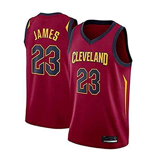 Anoauit Basketball-Trikot - NBA Cleveland Cavaliers # 23 Lebron James Basketball-Fan-Uniform Cooles, atmungsaktives, schnell trocknendes, ärmelloses, Besticktes Mesh-Sporttrikot-rot_XXL