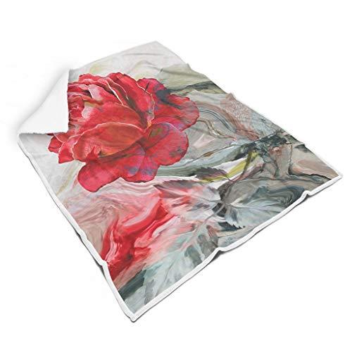 Ainiteey Flower Painting schick leuchtende Farben warme für Stuhl All Season Square Blankets für Erwachsene Warmer Stil White 150x200cm
