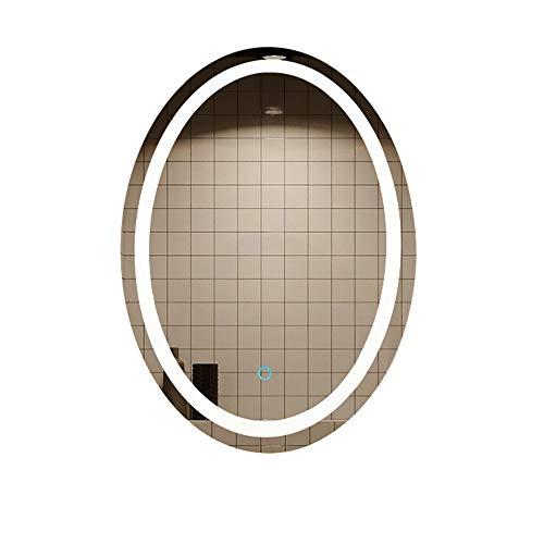 HU WU Badspiegel - LED ovaler Spiegel, Smart-Touchscreen, Entfeuchtung, explosionsgeschützt, 500 * 700mm