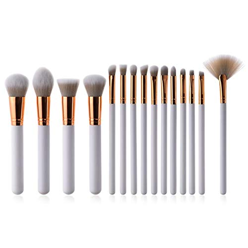 Conjunto de pinceles de maquillaje 15pcs blanco de alta calidad suave sintético sintético maquillaje pinceles conjunto de herramientas maquillaje brochas