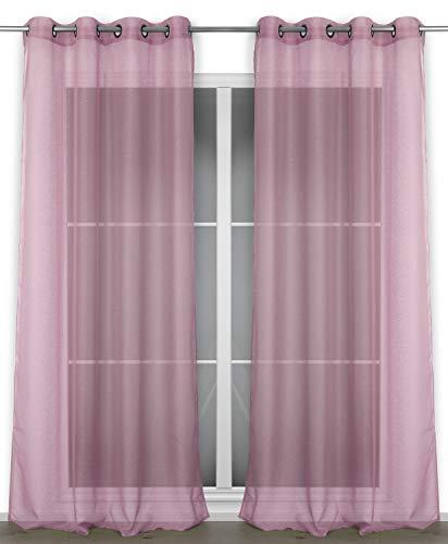BEAUTEX Vorhang mit Ösen 140x240 cm (Farbe Wählbar) transparente Gardine, Dolly (Altrosa)