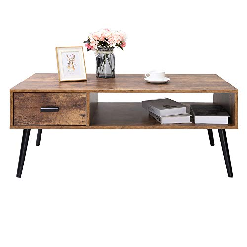 IWELL Mid-Century Boho Coffee Table with 1 Drawer and Storage Shelf for Living Room, 43 inch Cocktail Table, TV Table, Rectangular Sofa Table, Office Table, Elegant Table, Rustic Brown