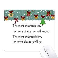 読書のあなたの知識を持ってきます ゲーム用スライドゴムのマウスパッドクリスマス