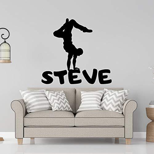 ASFGA Benutzerdefinierte Name Break Dance Schule Wandaufkleber Aufkleber Tanzaufkleber Home Schlafzimmer Wohnzimmer Wandkunst Dekoration Yoga-Praxis 114x90cm