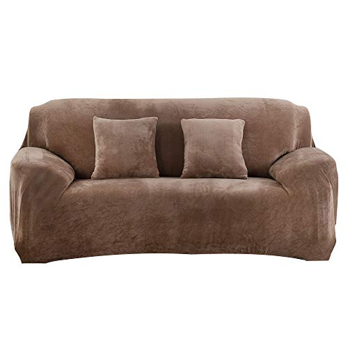 Souarts - Funda para sofá de 1 a 4 plazas, elástica, antideslizante, felpa, cómoda, universal, con reposabrazos antipolvo, extensible, para otoño e invierno, decoración del hogar