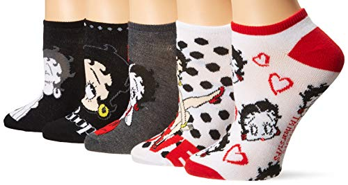 Betty Boop womens Betty Boop 5 Pack No Show Casual Sock, Black Red Multi, 9 11 US