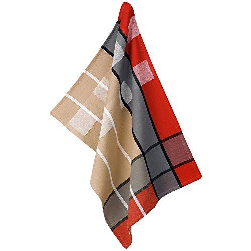kela Torchon de Cuisine Tabea avec Motif carré 50x70cm en Coton, Rouge/Gris/Taupe, 50x70x1 cm