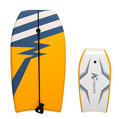 Kintness 37 inch Body Board with Wrist Leash, EPS Core, and Slick Bottom for Sea, Beach, River, Pool, Perfect Surfing for Kids Teens and Adults