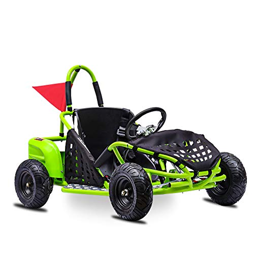 FITRIGHT 2020 Baja-X 48 Volt 1000 Watt Brushless Electric Go Kart, 3 Speeds Setting Up to 20 mph with Forward and Reverse. Racing Go Cart for Kids with Foot Pedal and Foot Break. (Green)