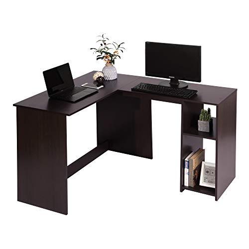 Coavas - Escritorio esquinero en Forma de L para Ordenador, Oficina, PC, portátil, Mesa de Trabajo con 2 estantes de Almacenamiento, Color café Espresso