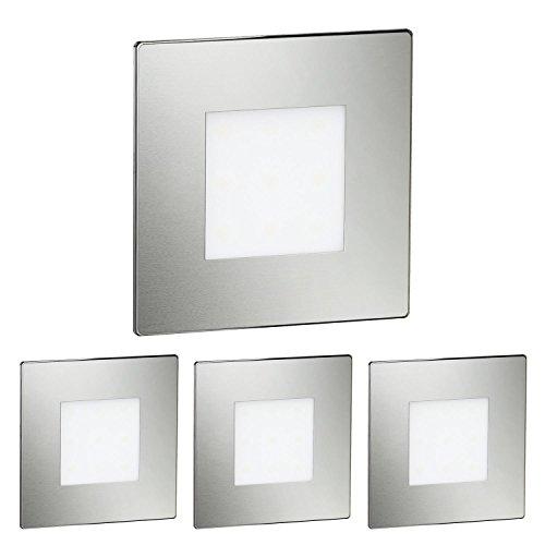 ledscom.de LED Treppen-Licht FEX Treppenbeleuchtung, eckig, 8,5x8,5cm, 230V, kaltweiß, 4 Stk.
