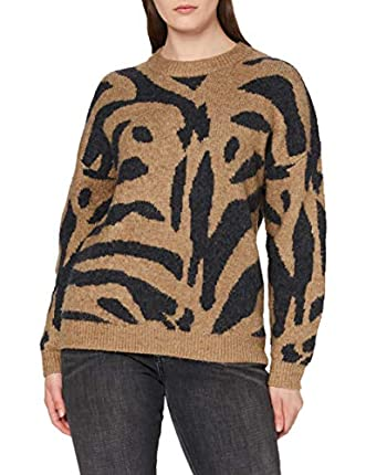 Marca Amazon - find. Jersey Tigre Mujer, Beige (Camel/Black), 48, Label: 3XL