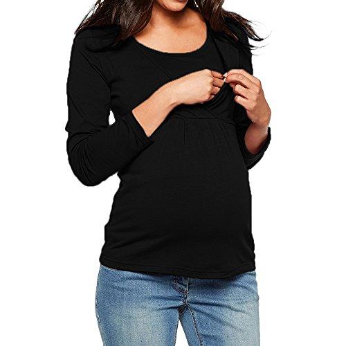 Covermason Vêtements de maternité Tops d'allaitement Haut d'allaitement Femmes T-Shirt de Grossesse Haut Maternité Allaitement Maternel Top Lace Up Double Couche Blouse (Medium, 02-Noir)