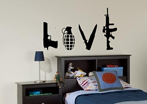 PRO CUT GRAPHICS Banksy Love Weapons - Adesivo in Vinile da Parete, Arte di Strada (Misura Media)