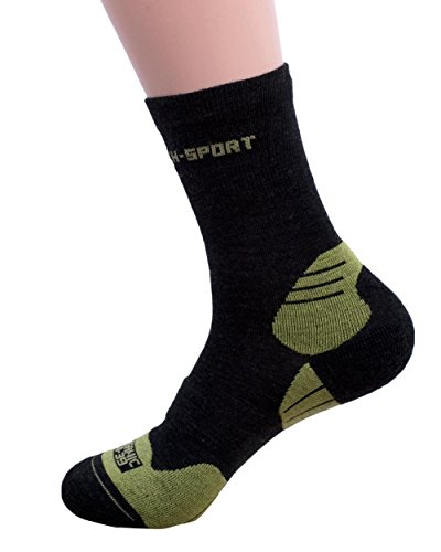 Hirsch Sports, Running Aktiv Socken Mika, 93% Wolle (kbT), 7% Elasthan (Black/Green, 36/37)