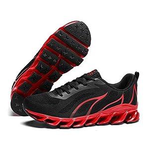 Pozvnn Mens Running Sneakers Shoes for Men Mesh Breathable Trail Runners Fashion Athletic Sport Walking Black 8.5