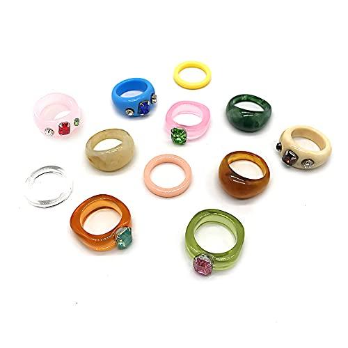 12 anillos de resina coloridos y gruesos acrílicos con diamantes de imitación,anillos de estilo Y2k,anillos de caramelo retro,anillos apilables de moda, juego de anillos de dedo para mujeres y niñas