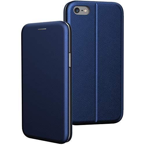 BYONDCASE iPhone 6 Plus & 6s Plus Flip-Case Hülle [Deluxe Leder Klapphülle] Handyhülle mit Einer 360 Grad Fullbody Rundumschutz-Funktion in Blau Ultra Slim Fliptasche kompatibel mit dem iPhone 6 Plus